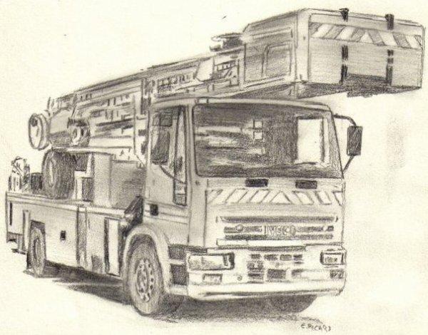 Pompier croquis - Camion de pompier dessin ...