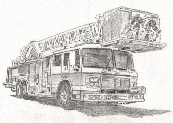 Pompier croquis - Dessiner un camion de pompier ...